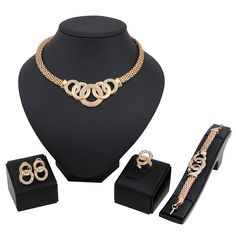 WOW New Women Gold Plated Crystal Bridal Jewelry Sets Alloy Necklace Earring Set Women's Jewelry Sets, Wedding Jewelry Sets, Wedding Ring, Jewelry Watches, Ring Earrings, Necklace Set, Ring Bracelet, Bridal Necklace, Rhinestone Necklace