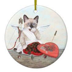 Cupid Kitten Personalized Valentine Ornament - Saint Valentine's Day gift idea couple love girlfriend boyfriend design