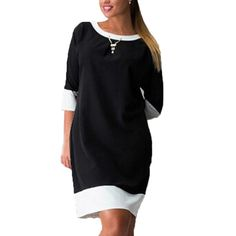 2017 Spring Fashion Women Dress Plus Size L-6XL European Patchwork Casual 3/4 Sleeve Mini T shirt Dresses Vestidos 4 Colors