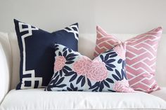 Asian blooms cascade through bold leaves & wandering branches in my principal pattern, Fleur Chinoise. Classic navy & poppy pink on aqua make this smart colorwa