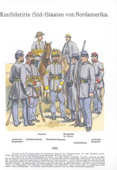 Band XV #41.- Konföderierte (Süd-)Staaten von Nordamerika: 1861. General. Kavallerist im Mantel. Infanterie-Hauptmann. Artillerie-Oberst. Kavallerie-Sergeant. Infanteristen. Artillerie-Korporal.