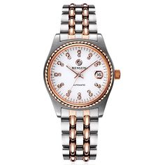 Binlun Men's 2 Tone Diamonds Sapphire Crystal Japanese Automatic Mechanic Stainless Steel Watch with Date ** Buy now: http://amzn.to/2iPLQ3x