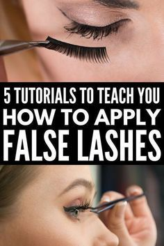 5 Tutorials to Teach You How to Apply False Eyelashes Properly   Looking for a good step by step video or tutorial for beginners to teach you how to apply false eyelashes? We've got you covered. We've rounded up 5 fabulous how-to tutorials that are loaded with different application tips, tricks, and hacks. We've included our favorite brands – full and individual – as well as some pointers on how to remove false lashes in a flash! #flaselashes #falseeyelashes #makeup #beauty #makeuptips