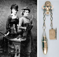 A Victorian Lady's finishing touch–the chatelaine. (From Wikipedia) A chatelaine is a decorative belt hook or clasp worn at the waist with a series of chains suspended from it. Each chain is mounted. Victorian Women, Edwardian Era, Edwardian Fashion, Victorian Era, Vintage Fashion, Victorian Dresses, Victorian History, Victorian Photos, Victorian Decor