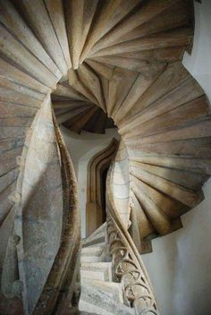 Double Spiral Staircase built in Graz Austria Spiral Stairs Design, Staircase Design, Beautiful Architecture, Architecture Details, Architecture Renovation, Beautiful Stairs, Take The Stairs, Stair Steps, Basement Stairs