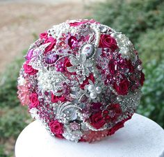 Magenta Pink Brooch bouquet. Visit my Etsy shop! The deposit is only $75.00