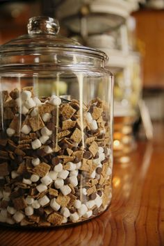 Yummy trail mix for an adorable Woodlands-inspired baby shower. How cute!
