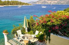 Room with a view - Fiskardo Kefalonia Blue Flag, Big Island, Blue Crystals, Worlds Largest, Greece, Around The Worlds, Social Media, Explore, Table Decorations