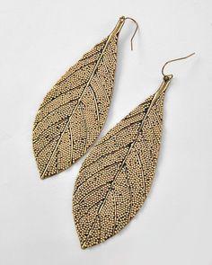 Burnished Beaded Leaf Earrings