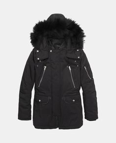 5ae748ac40868 Mid-length parka with leather trimmed collar and removable fur hood - Coats    Short jackets - The Kooples