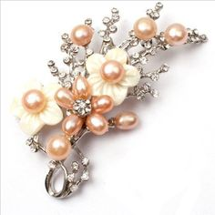 pink pearl white gold plated flower brooch pin 40x70mm | Your #1 Source for Jewelry and Accessories