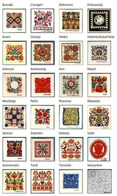 Hungarian embroidery styles.