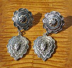 80s Vintage Concho Dangly Earrings Western Style Pierced Post Costume Jewelry.