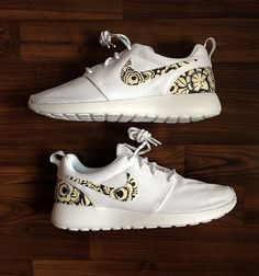 46a90ef3380d Items similar to Nike Roshe Run Womens White with Custom Black White Floral  Print - Womens size US 7 is Ready to SHIP !!! on Etsy