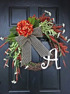 The Hydragea Grand Fall Wreath Wreath for by AnnabelleEveDesigns