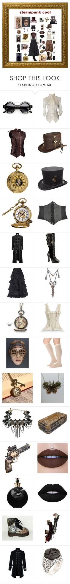 """steampunk cool"" by giagiagia ❤ liked on Polyvore featuring ZeroUV, Overland Sheepskin Co., Akribos XXIV, Demonia, Alexander McQueen, Valentino, Lime Crime, Poizen Industries and Cantini MC Firenze"