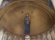 Image in the apse of Santa Maria Assunta in Torcello (outside Venice), Italy. It dates from the century, and it depicts the Virgin Hodegetria (She Who Shows the Way - the Virgin is pointing to the Christ child). Peggy Guggenheim, Santa Maria, Cello, Madonna, Romanesque Art, Religion, Images Of Mary, Religious Paintings, Religious Art