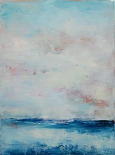 Blue and White Landscape-  Abstract Landscape Oil Painting small 9x12 ocean sky clouds blue and white original palette knife painting. $60.00, via Etsy.