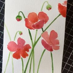 """""""Poppies - without their centres painted. I had to wait for the paint to dry and hen I forgot to…"""""""