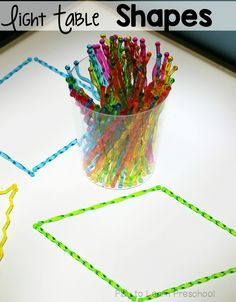 These plastic cocktail stirrers spark so much creativity at the light table. Make shapes or art. Preschool Centers, Preschool Science, Classroom Activities, Preschool Classroom, Toddler Activities, Classroom Ideas, Sensory Table, Sensory Bins, Sensory Lights