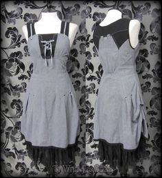 Quirky Grey Black Lace Up Hitched Pinafore Dress 10 Hippie Boho Lagenlook Mori | THE WILTED ROSE GARDEN
