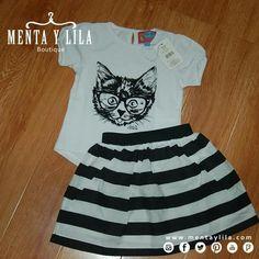 Belleza de conjunto para niñas. Falda circular y blusita de algodón, súper…