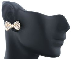 Ladies Gold with Clear Iced Out Mini Style Bow Stud Earrings $2.95