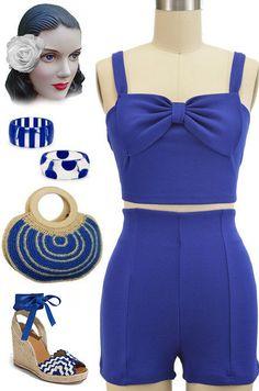 f5b9c03f72a 50s Style BLUE Bow CROP TOP   High Waist SHORTS 2 Piece PINUP Playsuit Set