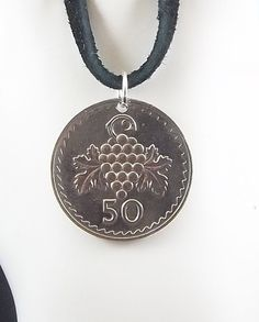 Cyprus Coin Necklace 50 Mils Coin Pendant by AutumnWindsJewelry