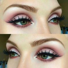 Pageant planet Makeup styles for people with green eyes | matte pink eyeshadow #greeneyeshadows