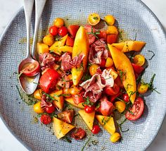 Quality produce makes this dish, Charentais melon, heirloom tomatoes and salty prosciutto marry beautifully. Ideal as a sharing platter starter for a summer dinner party