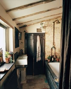 A rustic and industrial bathroom