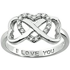 Sterling Silver .925 Double Heart Infinity Ring Valentine's Day gift