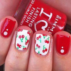 15 Sweet and Tart Cherry Nails Love Nails, How To Do Nails, Pretty Nails, My Nails, Vegas Nail Art, Vegas Nails, Cute Nail Designs, Acrylic Nail Designs, Toe Designs