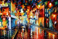 Title:CITY UNDER RAINby Leonid Afremov  Size:36&....M.Taylor: WOW! What a huge difference in his prices! I might even be able to afford this one on disability,if my child ever pays her half of the bills!