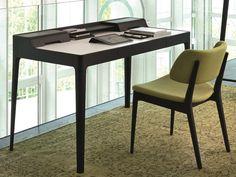 Tanned leather secretary desk SAFFO CUOIO Logos Collection by Porada | design Carlo Ballabio