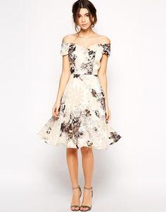 Enlarge Chi Chi London Premium Oversize Mono Floral Midi Dress With Bardot Neck | asos