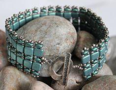 Unique Czech Tile and SuperDuo Bead Bracelet by ReggiesCreations