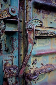Metal door and hook. incredible patina and color. Weathered materials where… Wabi Sabi, Rust Never Sleeps, Rust In Peace, Knobs And Knockers, Door Knobs, Door Handles, Peeling Paint, Rusty Metal, Old Doors