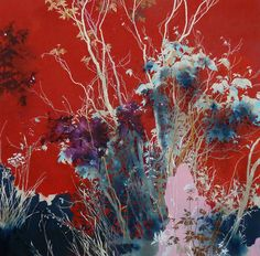 henrik simonsen/red and pink oil and graphite on canvas 120 x 120 cm 2013