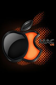 . orange and black apple logo