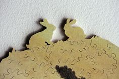 Easter is right around the corner. Custom wood jigsaw puzzle with whimsy pieces by Bella Puzzles.