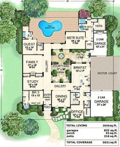 Central Courtyard Dream Home - 36118TX | European, Mediterranean, Spanish, Tuscan, Luxury, 1st Floor Master Suite, CAD Available, Courtyard, Den-Office-Library-Study, PDF | Architectural Designs