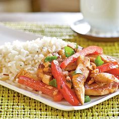 Chicken, Cashew, and Red Pepper Stir-Fry | Dinner Tonight | a href=http://www.myrecipes.comMyRecipes.com/a