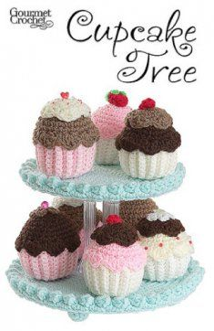 Cupcake Tree Pattern GC32107 - Have fun crocheting this collection of fanciful frosted cupcakes! Tiered display stand is perfect for displaying all your small crocheted desserts and treats.