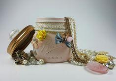 Vanity Mason Jar with Knob, Pink, Shabby Chic, Bridesmaid Gift, Bridal, Gift for Her, Jewellery Storage, Trinket Jar, Potpourri Holder by ShabbyChicRetreat on Etsy