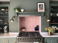 Our beautiful Blush Pink Handmade Tiles have been laid in a herringbone pattern to create a stunning alcove Kitchen Splashback Tiles, Kitchen Flooring, Splashback Ideas, Green Kitchen, Pink Kitchen Walls, Pink Kitchen Cabinets, White Cabinets, Herringbone Tile, Handmade Tiles