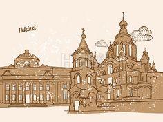 Helsinki, Finland, Greeting Card by #Hebstreit #stockimage #capital #travel #beautiful #sketch #greetingcard #design #famous #landmark
