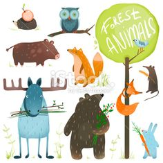 Cartoon Forest Animals Set by Popmarleo Brightly colored childish animals. Vector illustration EPS and hi-res JPG included. Forest Illustration, Children's Book Illustration, Hedgehog Illustration, Illustration Children, Animal Illustrations, Animal Posters, Animals Images, Forest Animals, Animal Design