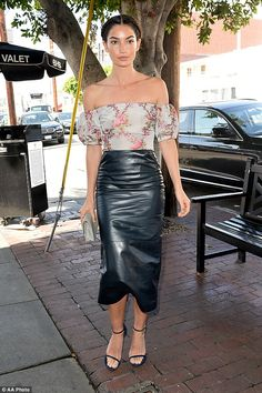 Styled well:Lily Aldridge is normally seen in bikinis. But the model looked just as lovel...